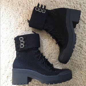 Jeffrey Campbell Lace Up mesh boots